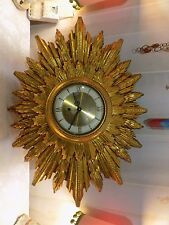 Vintage Mid Century Welby Gold Star Burst 8 Day Wall Clock