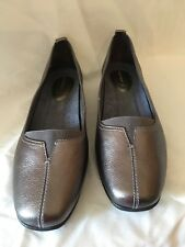 Womens Sz 11 W Hush Puppies Pearl Carlisle Pewter Leather Comfort Dress Shoes