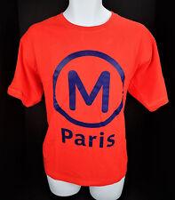 Large Paris France Metro T Shirt Orange