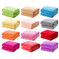 Super Soft Warm Solid Warm Micro Plush Flannel Blanket Throw Rug Sofa Bedding UK
