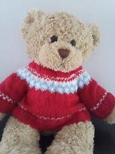 Hand Knitted Teddy Bear Jumper - Red Fairisle Ski Sweater - fits Build a Bear