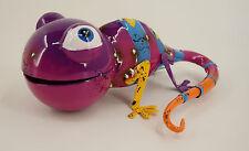 Dekobote, Metall lustige Eidechse / Gecko Gartendeko Gartenfigur Tier bunt