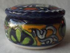 """Lovely Mexican Talavera Castillo Hand Painted Pottery Trinket Box 3-1/2"""""""