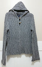 AMERICAN EAGLE Grey 100% LambsWool Hooded Sweater Ladies Large Wool Cable Knit