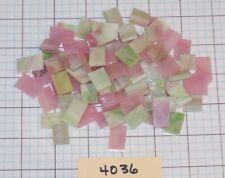 """5 oz- 1/2"""" X Various - Rectangle Stained Glass Mosaic Tiles Pink & Green #4036"""