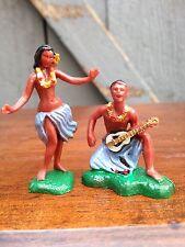 Vintage Hard Plastic Hula Luau Dancer Blue Girl Guitar Guy Figurines Hong Kong