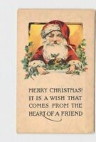PPC POSTCARD MERRY CHRISTMAS SANTA HOLLY WISH THAT COMES FROM THE HEART