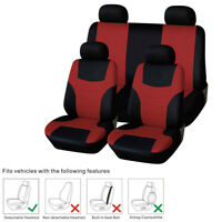 Car 5 Seats Cover Set Comfortable Breathable Foam Polyester Red+Black Cushion