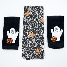 Set of 3 Halloween Bath and Kitchen Towels Ghost Pumpkin Spiderweb Black Orange