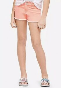 Justice Girl's Size 8 Color Denim Shorts in Bright Coral New with Tags