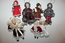 Lot of (7) Each Doll Ornaments Porcelain Victorian Very Well Dressed