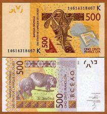 West African States, Senegal, 500 francs, 2012 (2014), Pick 719K, UNC > Hippo