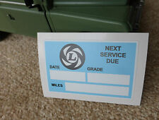 Land Rover Defender 90 110 V8 Leyland Service due at.. Bulkhead Sticker Decal