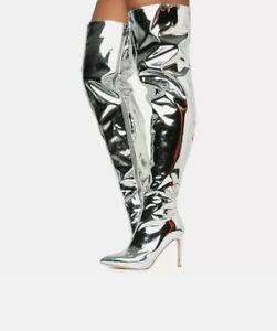 Cape Robbin MINI-80 Mirror Metallic Rose Gold Thigh High Pointy Toe Boot