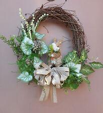 """14"""" Sisal Rabbit Easter Door Grapevine Wreath Handmade"""