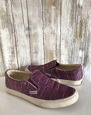 Superga Purple Croco Textured Slip-on Flat Fashion Sneakers 39 8 RARE!