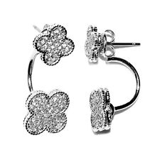 NEW PAVE DOUBLE CLOVER CLEAR CZ HOOP DANGLE EARRING -BRIDAL