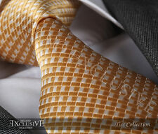 GOLD/WHITE CHECK SILK TIE - ITALIAN DESIGNER Milano Exclusive