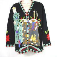 Storybook Knits Cardigan Sweater Christmas Holiday Women Size L Black Long Slv