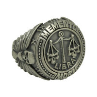 Libra Skull Zodiac Sterling silver biker men Ring Horoscope Memento Mori Masonic