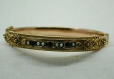 1911 Fabulous 9 carat Gold Amethyst And Seed Pearl Bangle SMALL WRIST