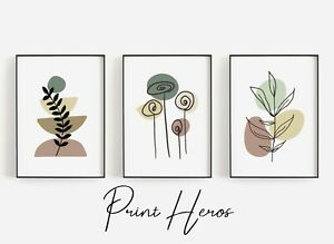 Boho Flower Art Print Wall Art Set of 3 Living Room Home Prints Modern