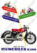 Hercules K 100 K100 Motorrad Poster Plakat Bild Schild Affiche Reklame Werbung