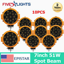 "10 X 7"" 51W LED Work Light Round Yellow Fit Off-road Driving ATV RZR Spot Boat"