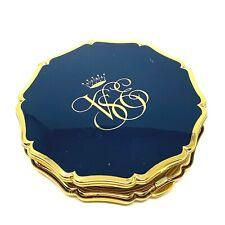 Vintage Stratton England Powder Compact Mirror Gold Tone Blue Enamel Monogram