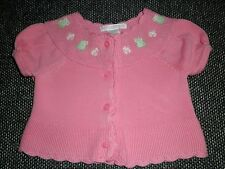 Janie and Jack 3 6 Mo.Sweater Pink Frog Daisy Garden Cardigan Cotton Pre-owned