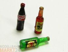 """Kombination 3x Getränke Flaschen  """"Coca Cola"""", """"XX"""" und Schnaps im Scale ca. 1:9"""