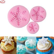 3Pcs Xmas Snowflake Silicone Mold Fondant Cake Decoration Chocolate Baking Mold
