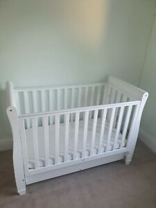 Babymore Eva Dropside Cot 120cm x 60cm - White Used but in very good condition.