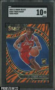 2020-21 Select Courtside Tiger Stripe Prizm Tyrese Maxey RC Rookie SP SGC 10