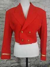 Vintage 1980s FORENZA Red Cropped Double breast Band Jacket sz L
