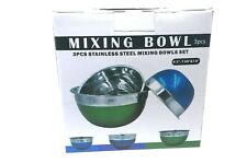 Stainless Steel Mixing Baking Bowls Set of 3 Dishwasher Blue Green New in Box
