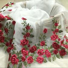 """1 Yard Lace Fabric Organza Tulle Red Rose Floral Embroidered Evening Dress 51"""""""