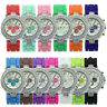 Fashion Geneva Silicone Crystal Quartz Ladies Women Jelly Dial Wrist Watch