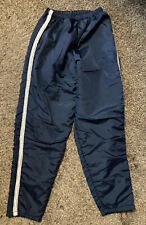 """~Vintage In Play Nylon Lined Track Pants Navy Gray White Stripe Small 30"""" Inseam"""