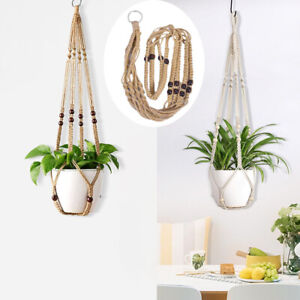 Europe Plant Hangers Indoor Hanging Planter Basket with Wood Beads Decoration