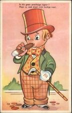 Boy in Gaudy Suit Hat & Cane Smoking Cigar Dutch Comic Postcard