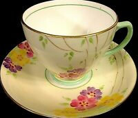 VINTAGE CUP & SAUCER SAMPSON SMITH OLD ROYAL CHINA 1930'S  YELLOW FLORAL