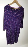 White Stuff UK 12 Purple Spotted Jersey Dress Pockets 3/4 Sleeve V-neck Skandi