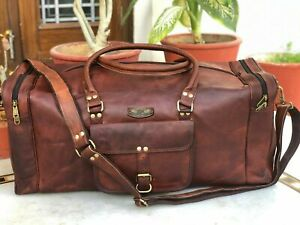 "Vintage Men G V B Leather Tote Luggage Travel Bag Duffel Gym Bag 30"" X X Large"
