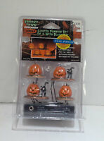 SPOOKY TOWN LIGHTED PUMPKIN SET with BLACK CATS SET of 4 LEMAX HALLOWEEN VILLAGE