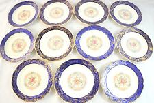 Vintage Madam Du Barry Royal Blue 22K Gold Saucers By Stetson