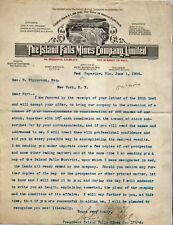1900 LETTERHEAD West Superior Wisconsin JOHN H HILL Island Falls Mines Co MINING
