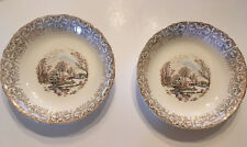 2  BOWLS  Currier & Ives Royal Monach First Quality China 22kt GOLD