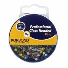 0.65mm thick 34mm 10g Hemline Glass Headed Pins