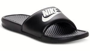 New Men's Nike Benassi JDI Slide Sandals Black, White, Red